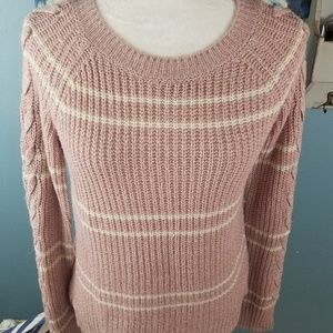 SO Pink & white sweater with laced up sleeves